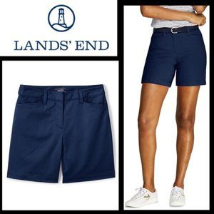NWT Lands End Mid Rise Radiant Navy Shorts